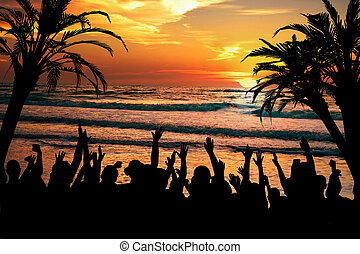 tropisk, parti, strand