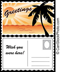 tropisk, postkort, landskab