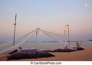 tropisk, romantisk, månsken, middag sätta, strand