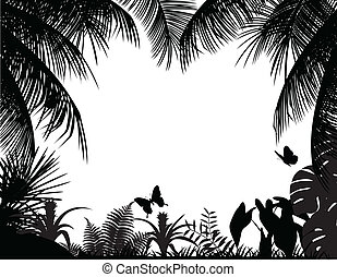 tropisk, silhuet, skov
