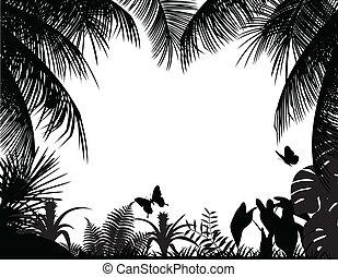 tropisk, silhuett, skog