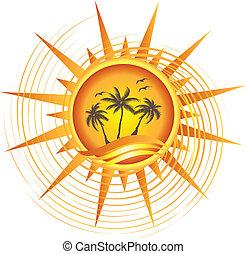 tropisk, sol, design, guld, logo