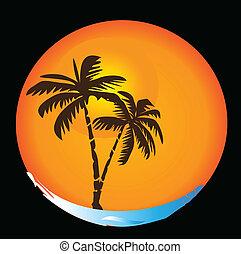 tropisk, sol, strand, logo