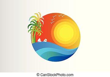 tropisk, sol, vågor, logo