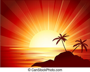 tropisk, solnedgång