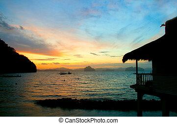 tropisk, solnedgang