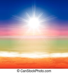 tropisk, solnedgang strand, hav, baggrund