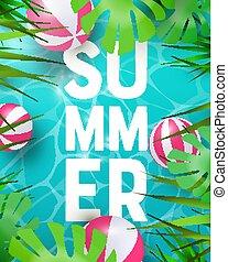 tropisk, sommar, planterar, slå samman, bakgrund