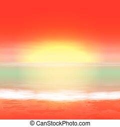 tropisk, sommer, sunset., hav, baggrund.
