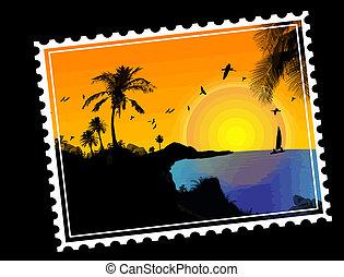 tropisk, stämpel, post, paradis