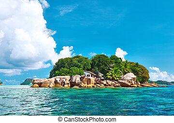 tropisk, vacker, ö