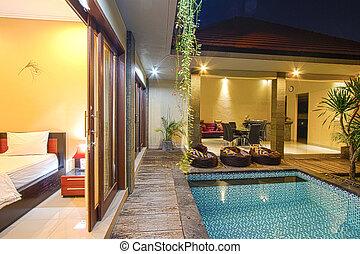 tropisk, villa, pool.