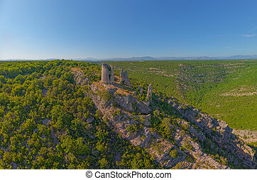 Trosenj fortress remains on the west side of mountain Promina in Croatia