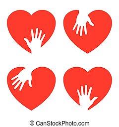 troszcząc, serce, komplet, ręka, ikony