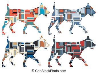 trotar, mosaicos, cão