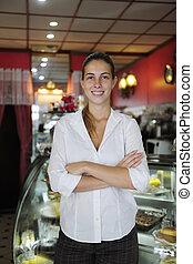 trots, kleine, vrouwlijk, eigenaar, business:, koffiehuis