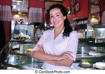 trots, zeker, gebakje, eigenaar, kleine, winkel