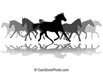 trottare, silhouette, cavalli, fondo, illustrazione