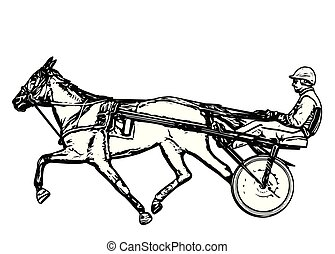 Trotter in harness drawing