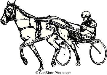 Trotter in harness drawing - vector