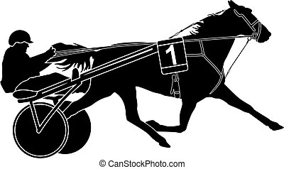 trotter horse racing and sulky with driver