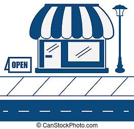 trottoar, butik front