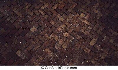 trottoir, brun, brique, pierres, goutte pluie, peu, surface...