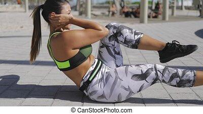 trottoir, femme, exercisme, abs