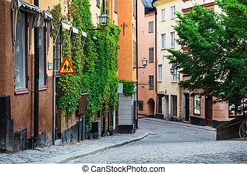 trottoir, pavé, ville