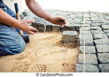 trottoir, pierre, trottoir, placer, ouvrier, tuiles, terrace., pavé, sable, construction, terrasse, granit, local