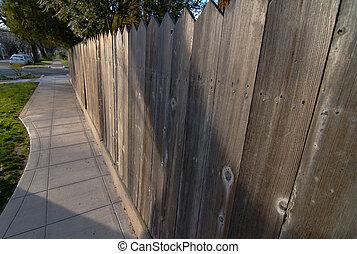 trottoir, séquoia, barrière
