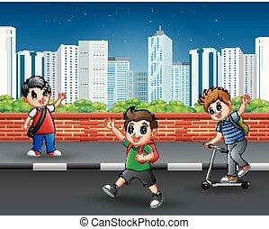 trottoir urbain, scène, enfants