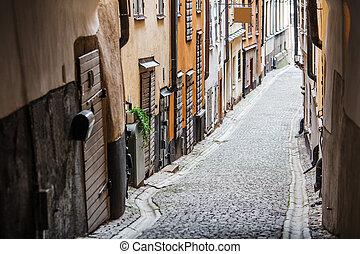 trottoir, vieux, pavé, ville