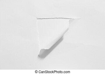 trou, déchiré, paper.