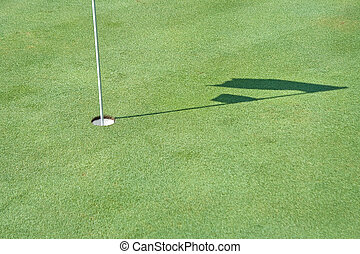 trou, ombre, drapeau ondulant, golf