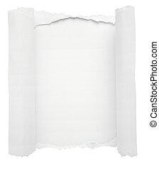 trou, papier, fond blanc