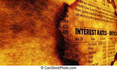 trou, papier, taux, intérêt