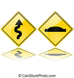 Glossy illustrations showing a series of curves and a speed bump, meaning trouble ahead