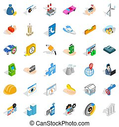 Trouble icons set, isometric style