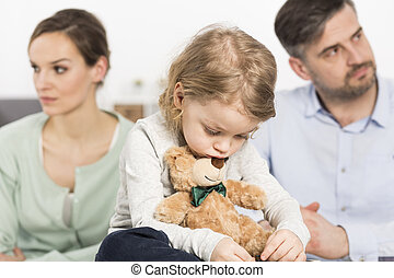 Trouble of parents affect on mood of child - Sad boy is ...