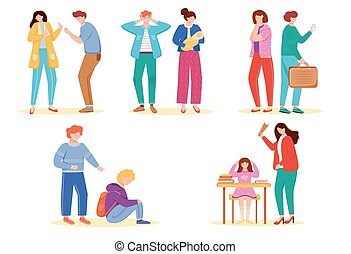 Trouble relationship flat vector illustrations set. School problems. Teen bullying. Marriage conflicts. Quarrel types. Break up situation. Arguing and mocking. Unhappy isolated cartoon characters