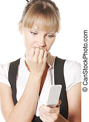Troubled caucasian woman with phone