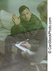 Troubled depressed soldier