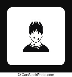 Troubled man icon, simple style