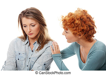 Troubled young girl comforted by her friend. Isolated on ...