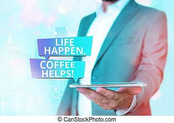 troubles., mentre, caffè, concettuale, segno, esposizione, ...