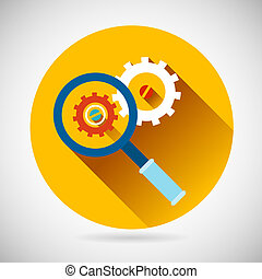 Troubleshooting Symbol Magnifying Glass and Gears Icon on...