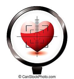 troublez, coeur, amour, cible