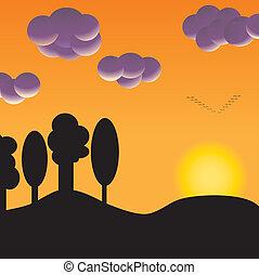 troupeau, coucher soleil, oiseaux