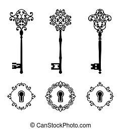 trous serrure, ensemble, clés, vendange, couleur isolée, noir, white.